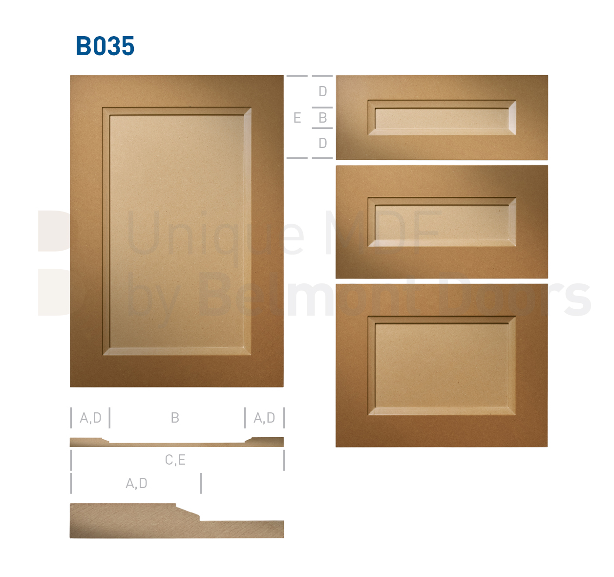 B035 Collection (Traditional Kitchen Cabinet Door Style MDF Set)