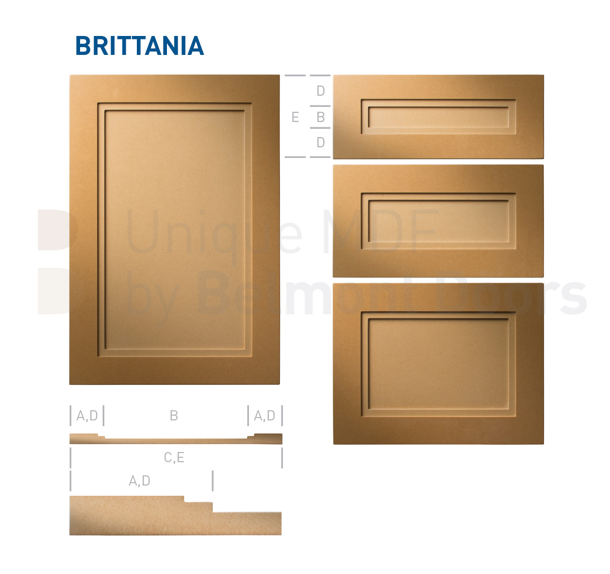 Brittannia-Shaker-MDF-Doors-Flat Panel Kitchen Cabinet Doors Drawers by BelmontDoors.com