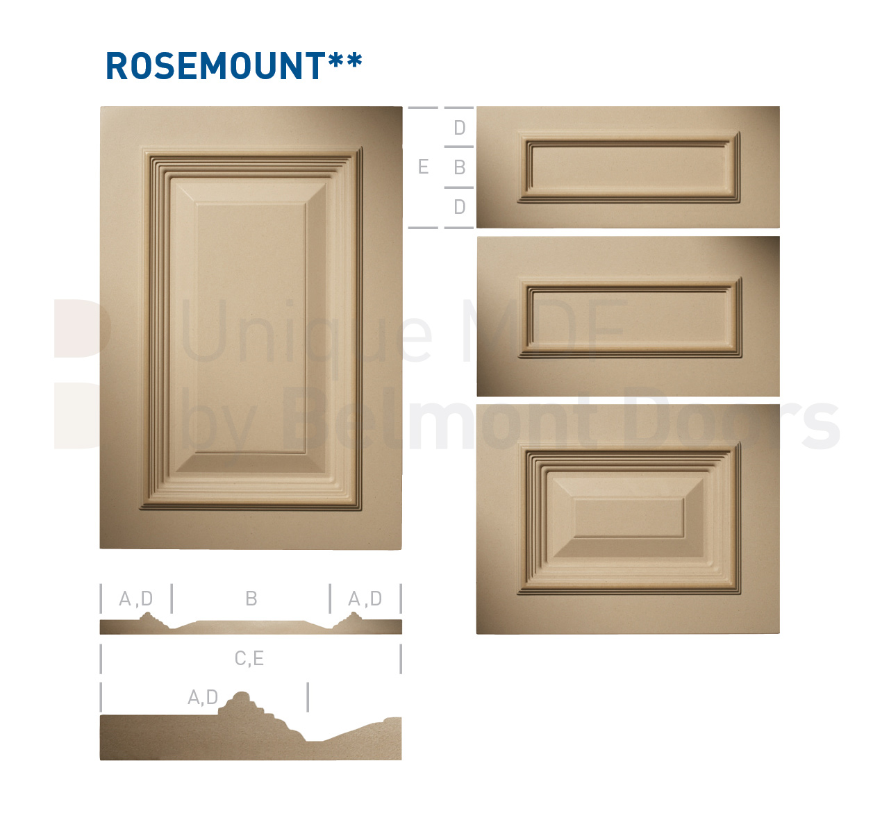 ROSEMOUNT** Collection (Classic Kitchen Cabinet Door Style MDF Set 17)