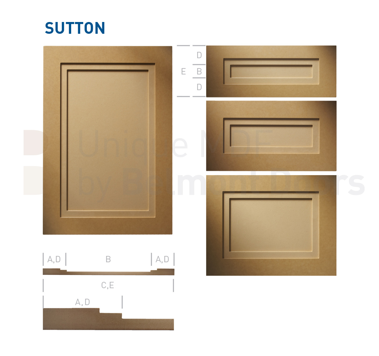 Sutton Shaker Kitchen Cabinet Door Style MDF Set by BelmontDoors.com
