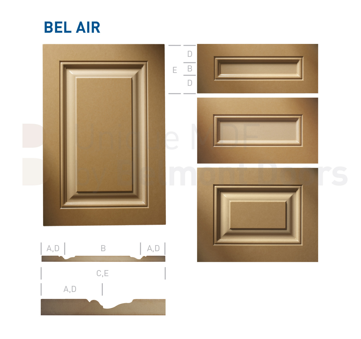 BEL AIR Collection (Traditional Kitchen Cabinet Door Style MDF Set 16)