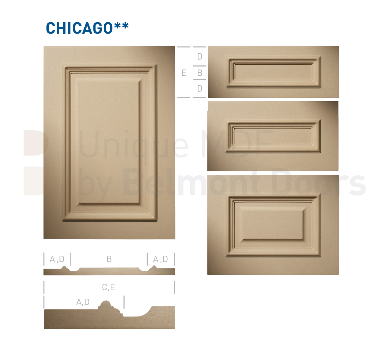 CHICAGO** Collection (Classic Kitchen Cabinet Door Style MDF Set 16)