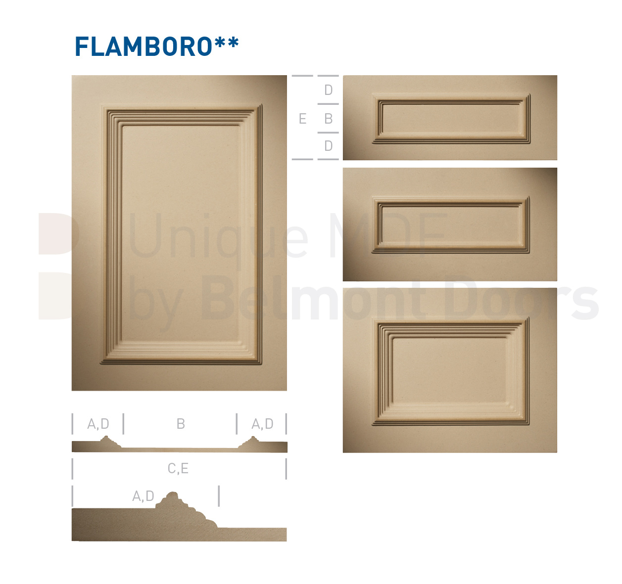 FLAMBORO** Collection (Classic Kitchen Cabinet Door Style MDF Set 8)