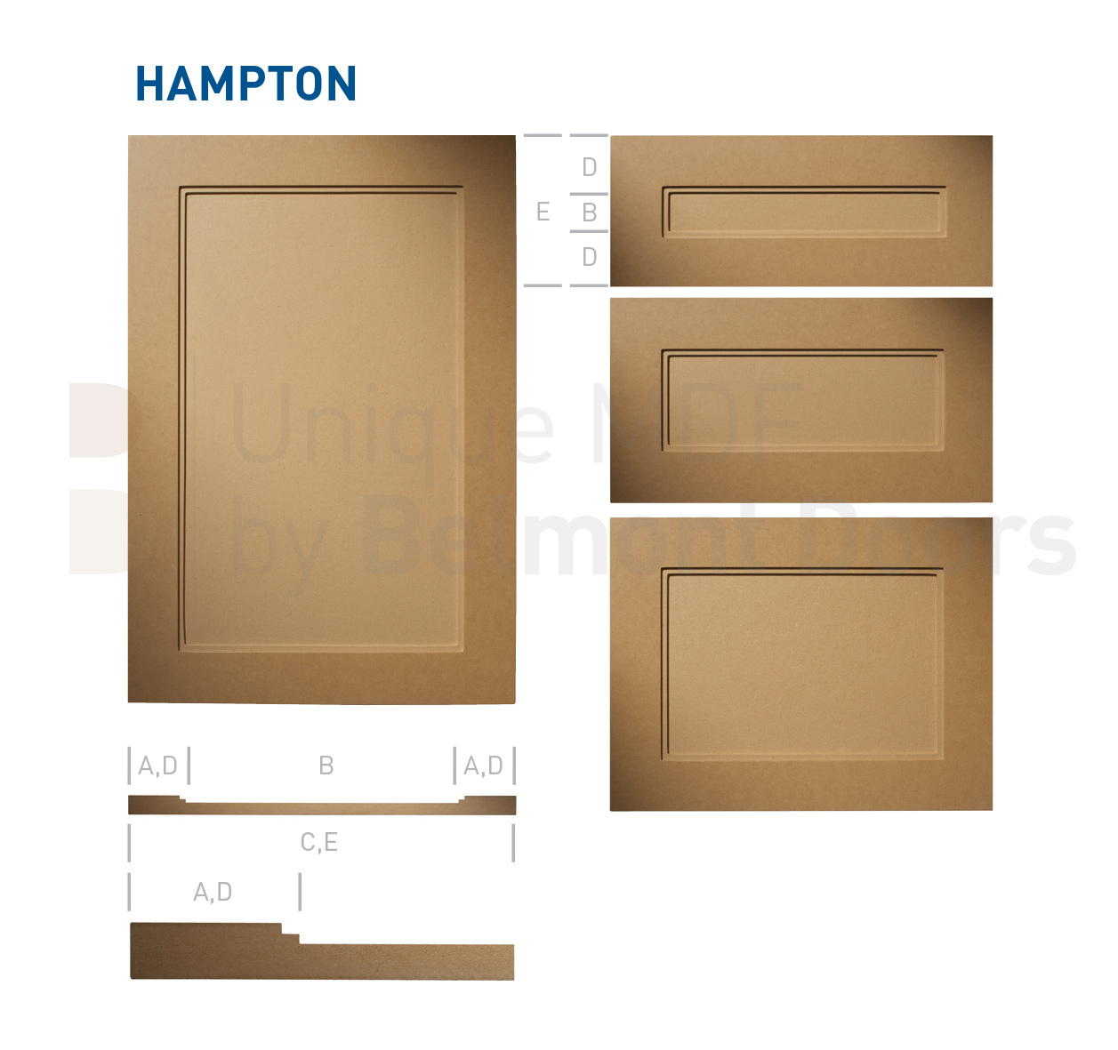 Hampton Modern Shaker Kitchen Cabinet Door Style MDF Set