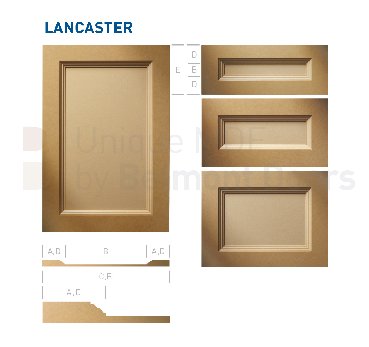 LANCASTER Collection (Transitional Kitchen Cabinet Door Style MDF Set 1)