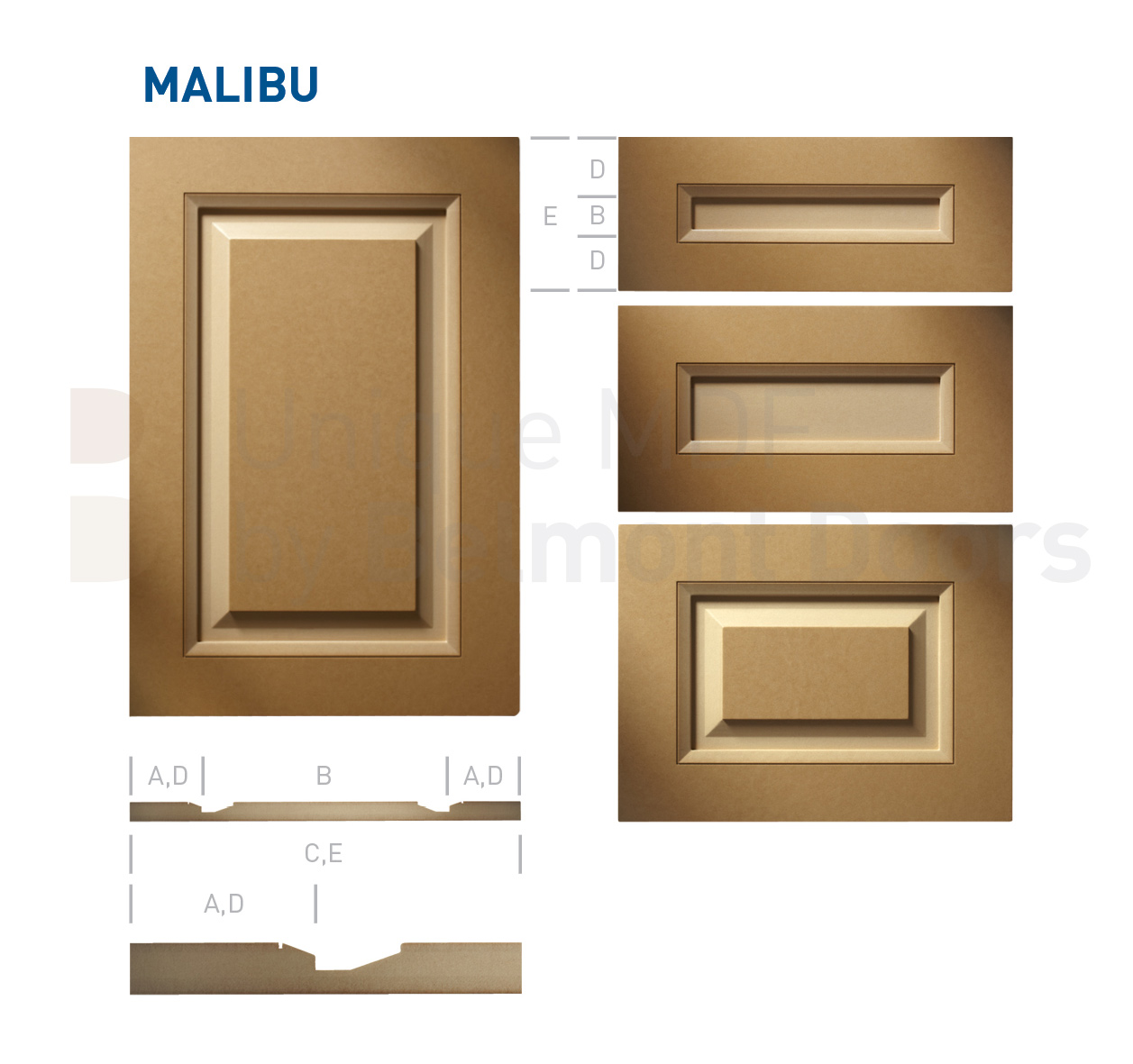 MALIBU Collection (Transitional Kitchen Cabinet Door Style MDF Set 5)