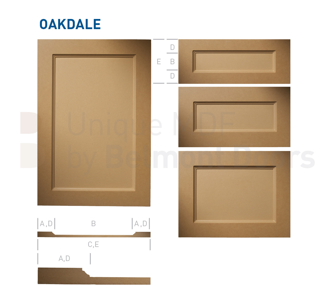 Oakdale Collection - Traditional Kitchen Cabinet Door Style MDF Set 2