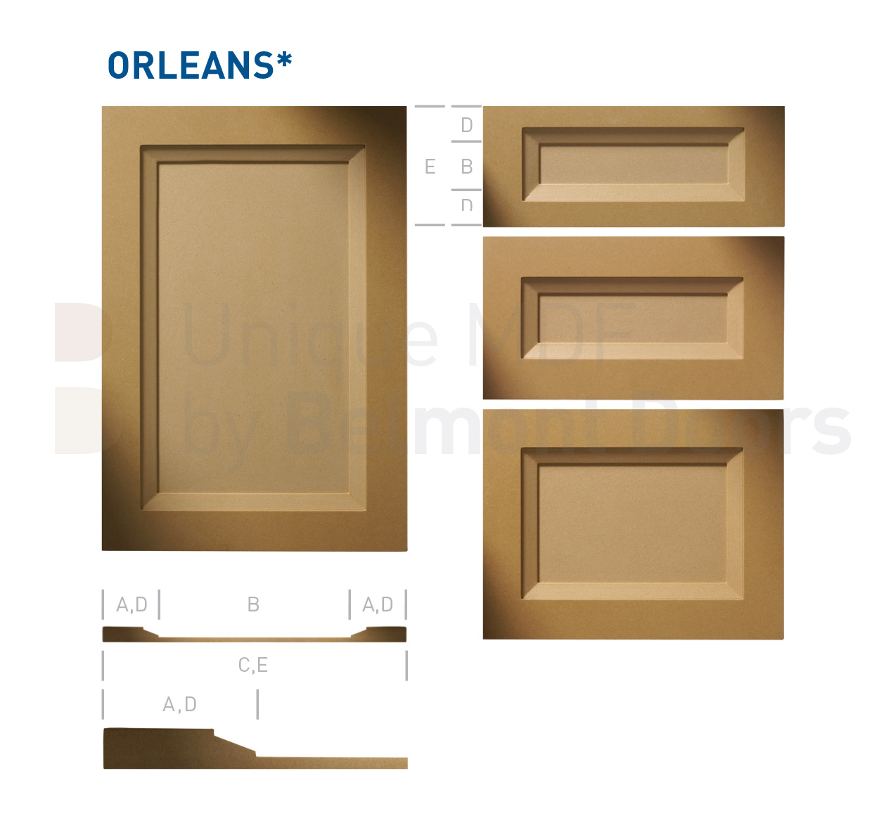 ORLEANS Collection (Transitional Kitchen Cabinet Door Style MDF Set 3)