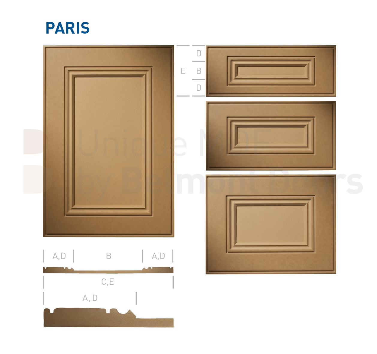 PARIS Collection (Traditional Kitchen Cabinet Door Style MDF Set 6)