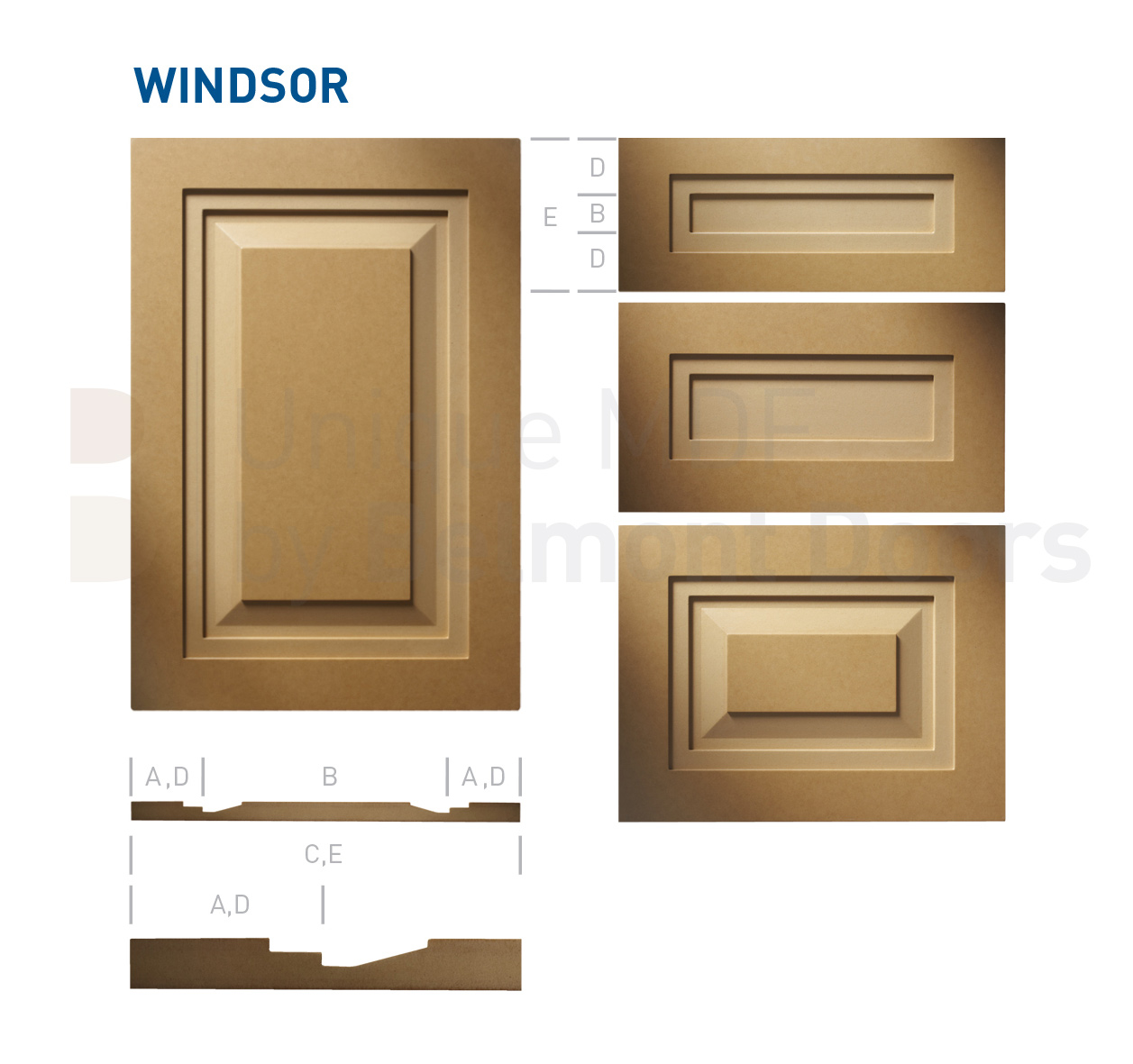 WINDSOR Collection (Shaker - Raised Panel - Kitchen Cabinet Door Style MDF Set 11)
