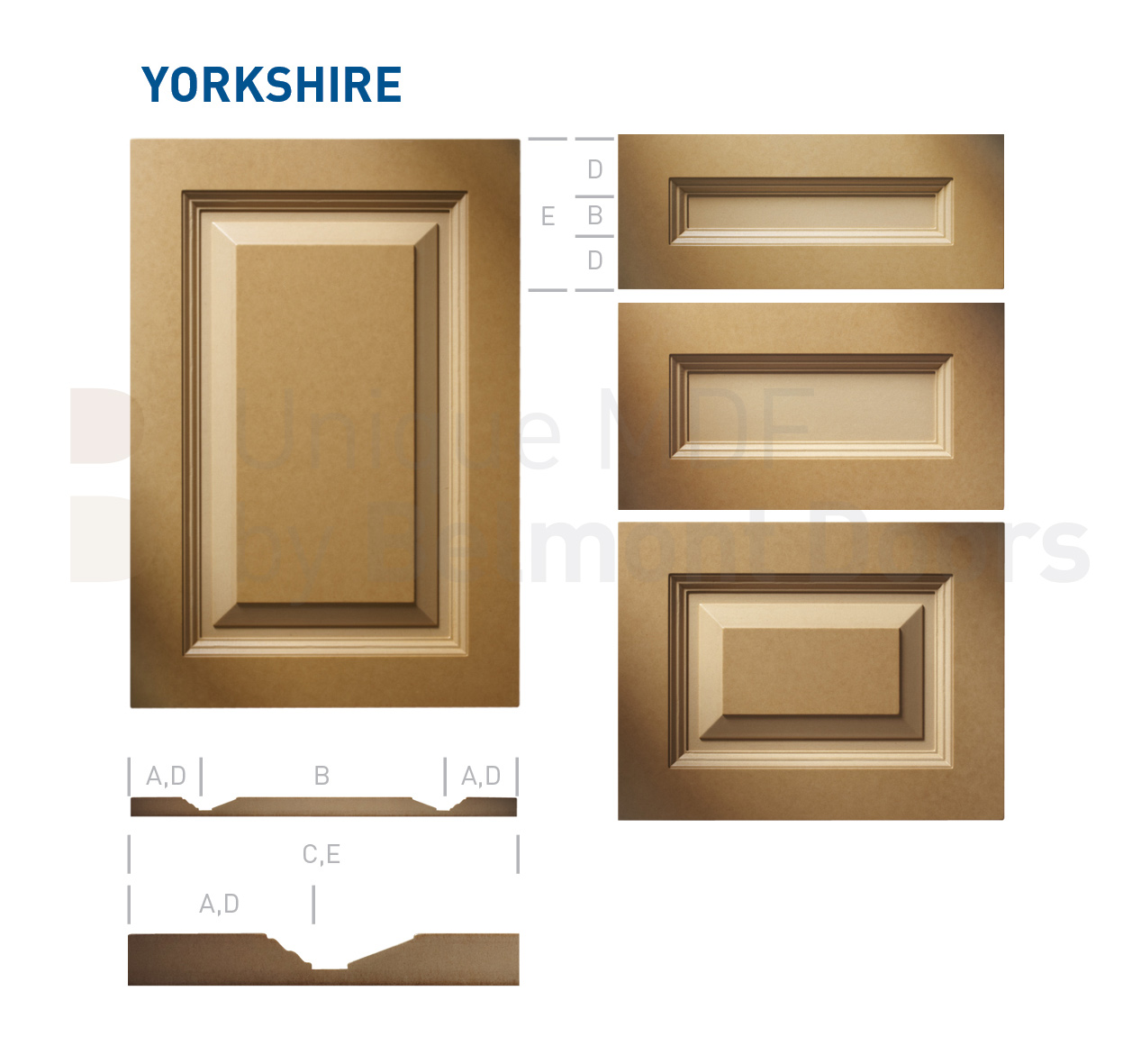YORKSHIRE Collection (Transitional Kitchen Cabinet Door Style MDF Set 4)