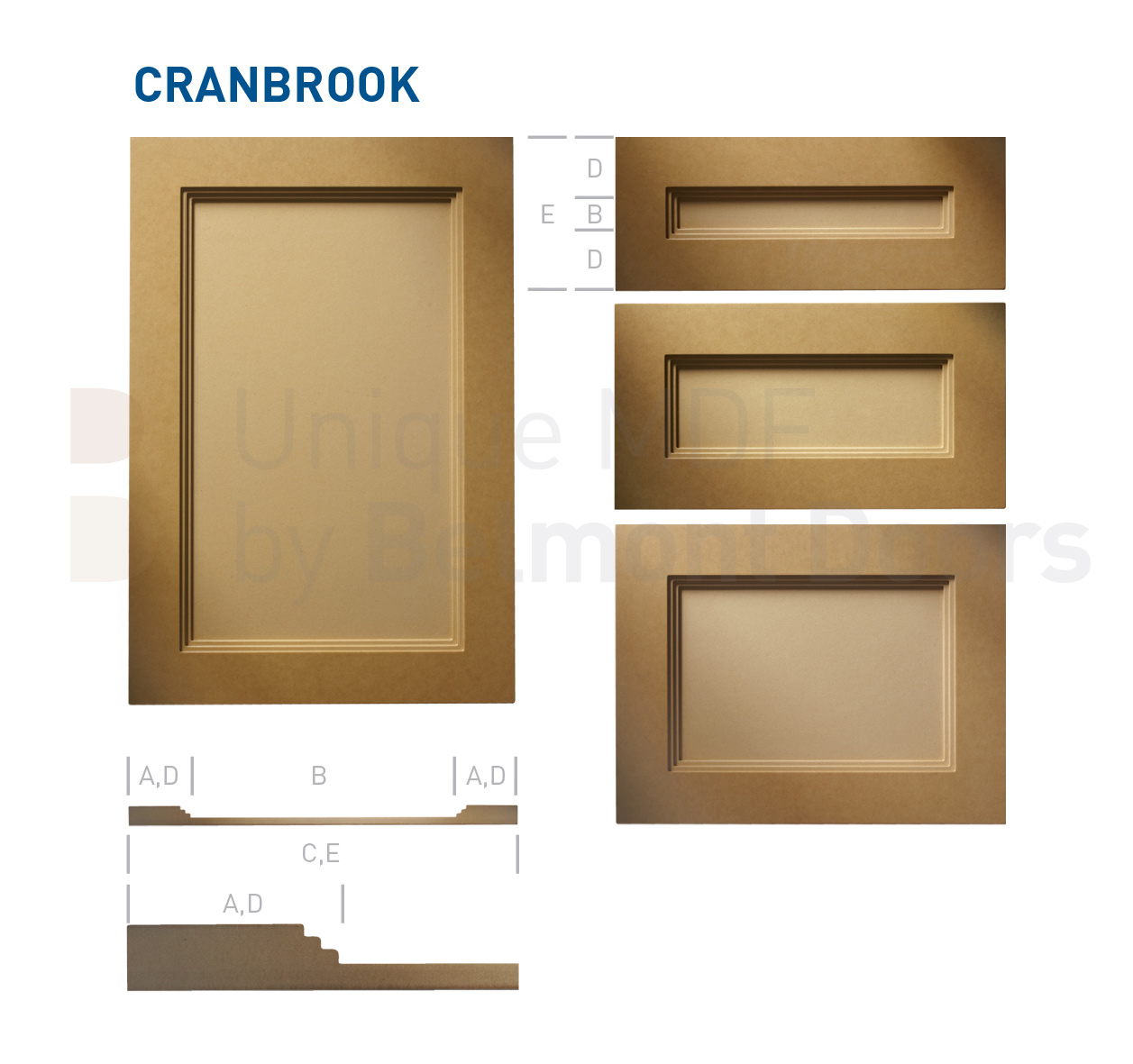 CRANBROOK Collection (Shaker Kitchen Flat Panel Cabinet Door Style MDF Set 6)